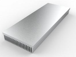 iso render view of HS-14.0-5.4-1.4-01 extruded aluminum heatsink with 21 fins on 1 side and a flat mounting base as shown