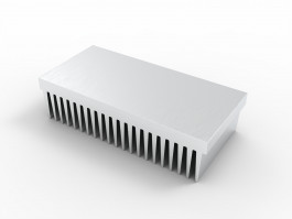 iso render view of HS-2.5-5.4-1.4-01 extruded aluminum heatsink with 21 fins on 1 side and a flat mounting base as shown