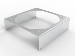 iso view picture of fan bracket for mounting 120mm fan to our 5.4 inch heat sink extrusions