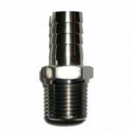 """Barbed Tube Fitting 1/8"""" NPT to 1/4"""" tube ID Stainless"""