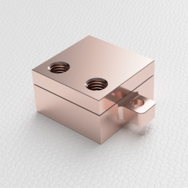 Iso render view of small Liquid cold plate machined from copper part number WBA-1.00-0.60-CU-CH 1x1 inch