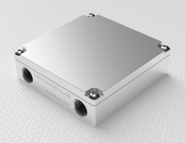 Iso render view of Aluminum liquid cold plate water block WBA-3.00-0.90-AL-2G 2nd Gen for liquid cooling
