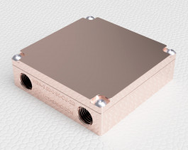Iso render view of Liquid cold plate machined from copper for cooling electronics, TEC cooling, TEG cooling, IGBT cooling, and laser cooling