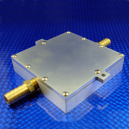 iso view of an aluminum water cooled cold plate with brass barbed fittings in the inlet and outlet