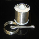 image of solder wire roll and coiled solder. Solder alloy of Indium Tin Cadmium In44/Sn42/Cd14 with a 93C melt point