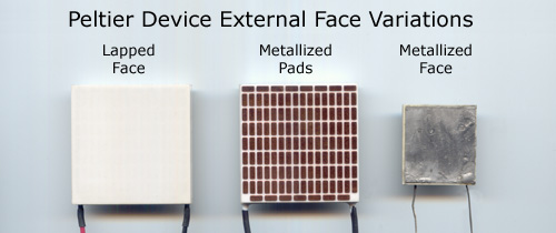 image of 3 different TEC face types showing lapped ceramic, metallized pads, metallized face,
