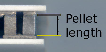 Image of pellet length measurement close up