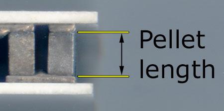 Image of pellet length measurement close up