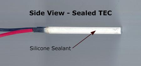 Side view of RTV sealed peltier device