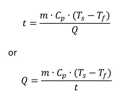 formula for time required to cool or heat an object of known mass and material.